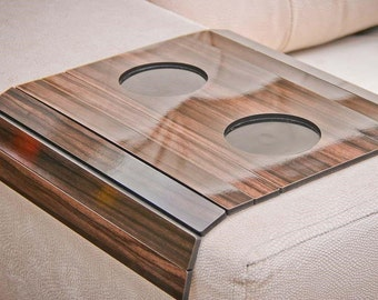 Laser Cut Flexible Sofa Tray in Tobacco Color Arm Couch Placemat