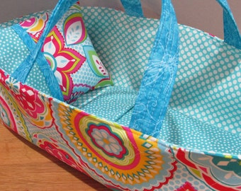 Doll Carrier, Modern Print with Aqua Lining, 14 Inches Long, Doll Basket