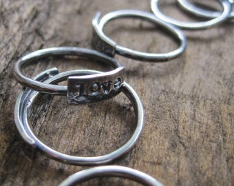 simple truths ring - love -  sterling silver