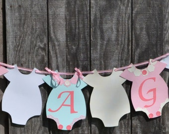 Pink and green Baby Shower Banner, It's a Girl Banner, Onesie Banner, Gender Reveal Banner