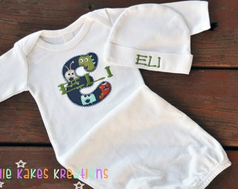 Applique Initial Baby Gown and Beanie Set / Choose ANY Fabric!