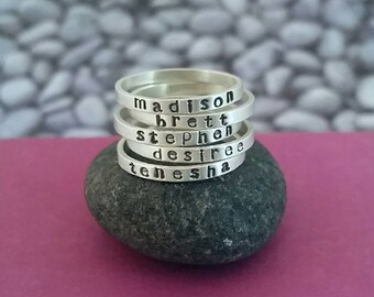 Personalized Skinny Stacking Name Ring in Sterling Silver, Mother's ring, Skinny Name Ring, Custom Name Ring, Stackable name ring