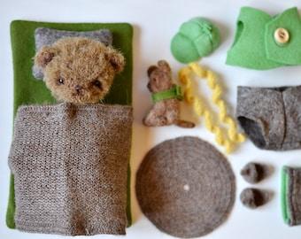 Miniatuur Beer, kunstenaar teddy bear, teddy bear play set