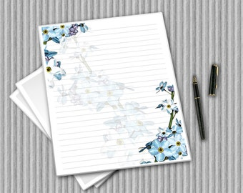 Digital Writing Paper - Printable Journal Pages - Forget Me Not stationery - Floral Notepaper - Flower Paper - Water colour printable paper