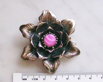 Large Flower Pendant Pink Shell & Sterling Silver Jewelry Necklace Supplies