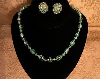 Faceted Green Glass Beads
