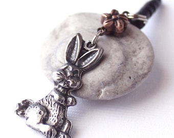 Bunny Headphone Jack Charm - Woodland Mobile Phone Charm, Copper Flower, Pewter Rabbit, Choice of Dust Plug Color