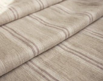 Pure  linen fabric with white and very  light violet stripes-natural fabric-ecofriendly-washed-vertikas stripe
