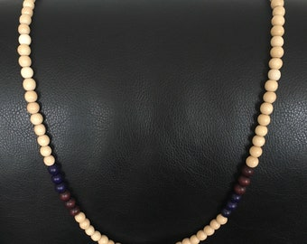 Mens wood bead necklace in white/off-white with purple and burgundy, 30 inches