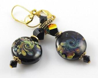 Black Dangle Earrings, Swirl Lampwork Earrings, Long Black and Gold Earrings, Glass Lampwork Jewelry