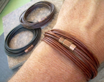 Triple Wrap Leather Bracelet with Copper toned Brass Magnetic Clasp, Mens Jewelry, Mens Bracelet, Leather Bracelet, Wrap Bracelet, Boyfriend