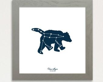 Constellation Art Print, Ursa Major Big Dipper Screen Printed 12x12 Night sky stars, Glow in the dark, Great Bear Constellation