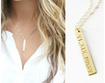 Bar Necklace, Personalized Necklace, Date Necklace, Roman Numerals Necklace, Personalized Bar Necklace, Silver, Rose or Gold, TheSilverWren