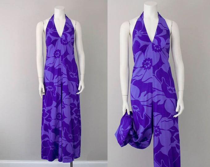 60s Vintage Violet Floral Hawaiian Wide-Leg Halter Jumpsuit (S, M)