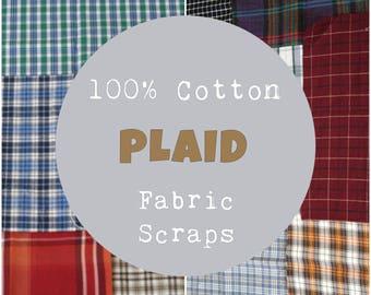 Plaid Fabric Scraps, 1/2 Pound of Scraps, Plaid Fabric Scrap Bundle, 100% Cotton