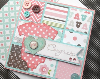 New Baby Girl Card with Matching Embellished Envelope - Baby Girl Congrats