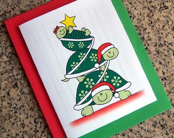 turtle stack christmas tree holiday christmas cards (blank or custom printed inside) with red or green envelopes - set of 10