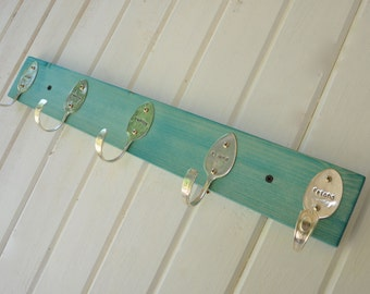 Turquoise Stained Personalized Spoons Coat Rack Recycled Silverware