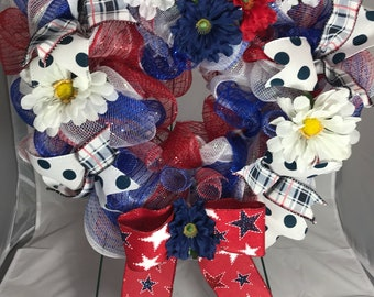 Patriotic heart shaped wreath