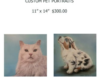 "Custom painted pet portrait  11"" x 16"""