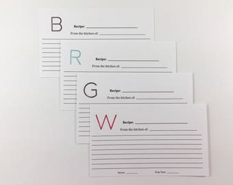 From The Kitchen Of Modern Monogrammed 3x5 Recipe Cards set of 20 - Pick your letter and color