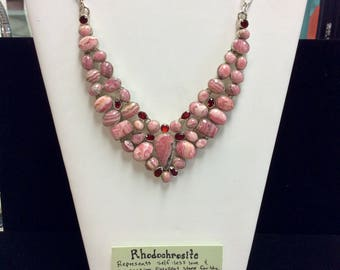 Rhodochrosite Sterling Silver Necklace
