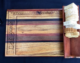 Exotic hardwood chacuterie and cheese  appetizer tray
