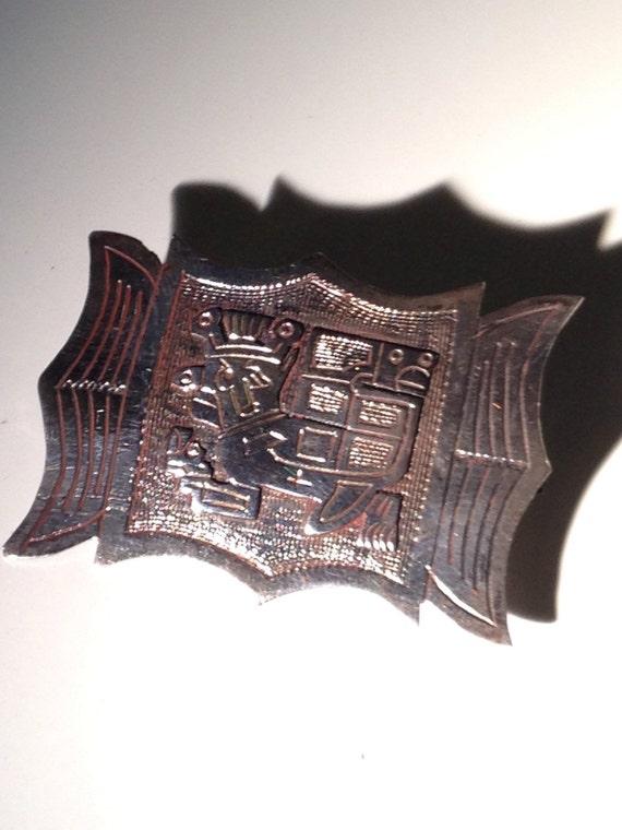 Colombian 900 Silver Brooch