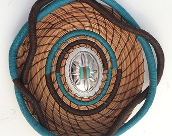 Turquoise and Brown Pine Needle Basket Concho Center- Item 827 by Susan Ashley