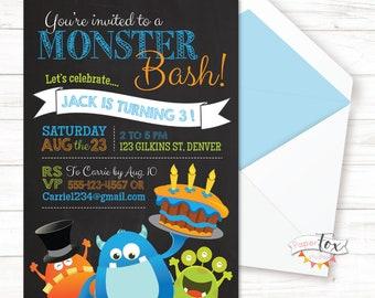 Monster Birthday Invitation, Monster Bash Birthday, First Birthday Boy, Little Monster 1st Birthday, Little Monster Birthday, Monster Party