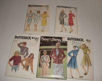 Five Vintage Patterns.  Butterick 4197.  Butterick 3932.  Butterick 3491.  Butterick 6401.  Butterick 3613.