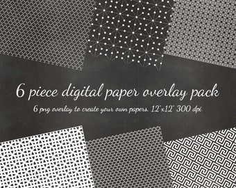 80% OFF SALE Digital Scrapbook  Mid Century Modern - 6 DIY Pattern Overlays Digital Scrapbook Overlay Paper - Pattern diy Paper png Overlay