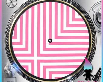 "Pink and White Stripes Turntable Slipmat - 12"" LP Record Player, DJ Slipmat- 16oz Felt w/ Glazed Bottom"