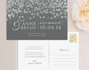 Champagne Bubbles Save the Date Postcard / Magnet / Flat Card - Sparkle Save the Date, Lights Save the Date, Champagne Save the Date