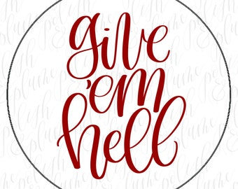 """Alabama Crimson Tide Give Em Hell 3"""" Game Day Buttons Pins"""