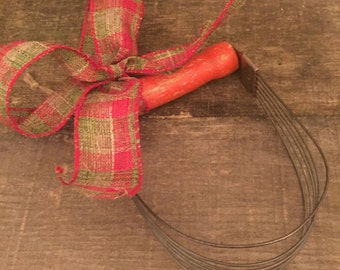 Dough Kneader with Red Wooden Handle Vintage