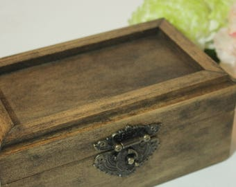 Natural Wood Wedding Ring Bearer's Box | Mr and Mrs Box | Double Ring Box | Customization