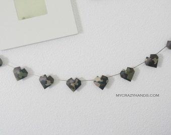 camo origami heart garland    3D heart banner     military wedding garland      gift for him   nursery garland