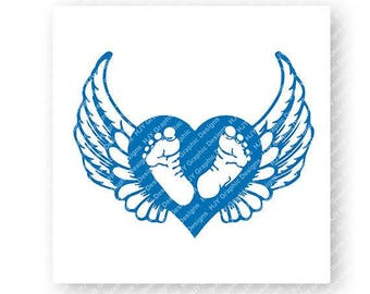 Baby, Footprints, Blue, Wings, Halo, Digital, Download, TShirt, Cut File, SVG, Iron on, Transfer