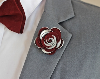 Leather burgundy rose flower pin, burgundy groomsmens boutonniere,maroon boutonniere, bordoux burgundy,silver lapel pin mens lapel flower,