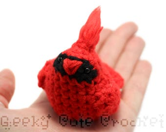 Red Cardinal Bird Toy Plush Tiny Birb Amigurumi