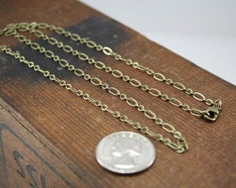 Chain for Charms, Brass Antique Gold Finish Soldered Mother Son Link Chain with Lobster Clasp, Add A Chain to Your Pendant, Kyleemae Designs