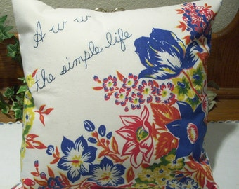 Pillow Cover - Floral Design - Vintage Fabric - Hand Embroidered