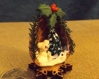 miniature scene in a walnut shell