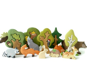 BIG SET Animal toys Forest animals (9pcs) + Trees (5pcs) Nature table Waldorf toys Wooden toys Animal figures Toys for kids