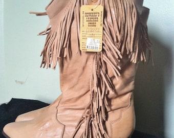 Vtg 80's Justin Leather Fringe Cowgirl Boots 10