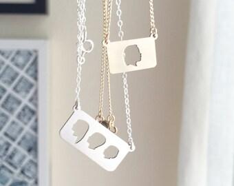 Muttertag Halskette Bar Halskette Silhouette Schmuck Brautjungfern Schmuck benutzerdefinierte Silhouette Charme Laser geschnitten, Schmuck Silber oder Gold
