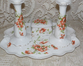 Antique Porcelain MZ Altrohlau Czechoslovakia Dresser Set CM-R 1918-39 5 PC.