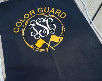 Color guard bag, color guard gym bag, color guard monogrammed bag, color guard monograms, school gym bag, school bag, color guard