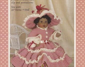 Lovely Teena, Fibre Craft Crochet Doll Clothes Pattern Booklet FCM253 Dress Pantaloon Slip Bonnet